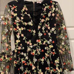 Embroidered Floral Romper